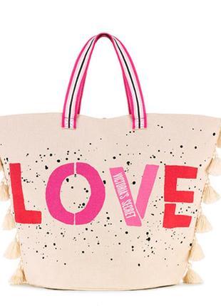Пляжная сумка victoria's secret оригинал, шоппер вместительная...