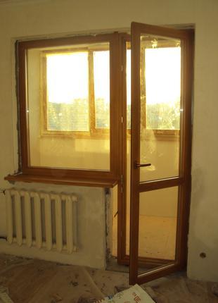 Балконный блок представляет собой дверь и окно, обьедененные в од