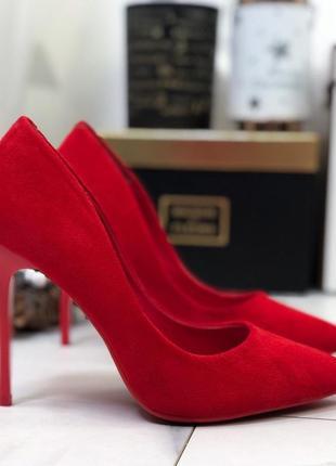 Замшевые туфли лодочки на шпильке,красные туфли на высоком каб...
