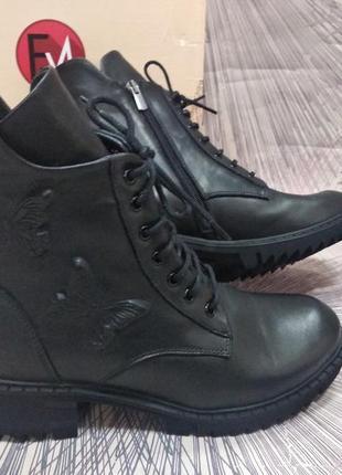 Зимние женские ботинки на шнурках estomod цигейка новинка