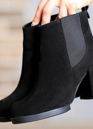 Зимние замшевые ботинки на каблуке 36,40р