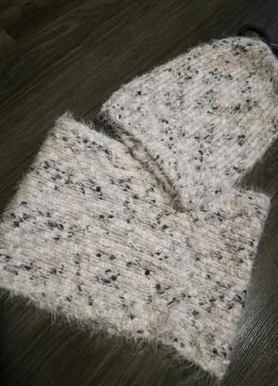Нежный мягкий набор шапка+шарф-снуд