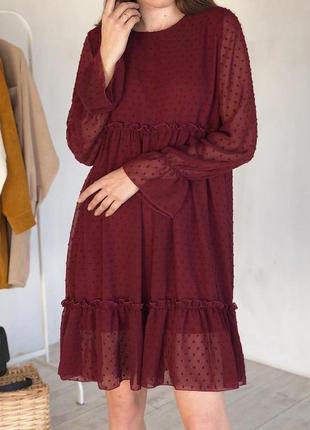 Воздушное платье в мелкий горошек