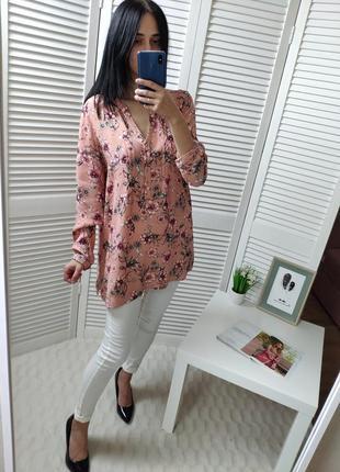 Блуза розовая в цветок с камнями george, p-p uk 16/l-xl