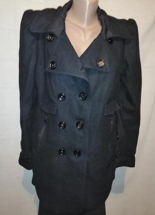 Теплое кашемированое шерстяное пальто чёрное