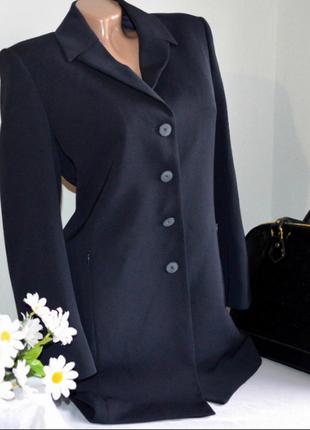 Брендовый темно-синий удлиненный пиджак жакет блейзер с карман...