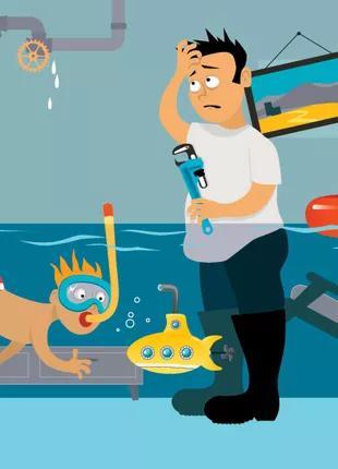 Поиск утечек, порывов, протечек воды, не герметичность труб