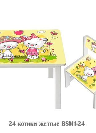 Детский стол и стул из дерева с разными рисунками