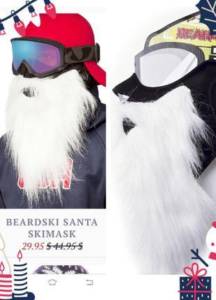 Маска сноубордная санта борода санты флисовая маска