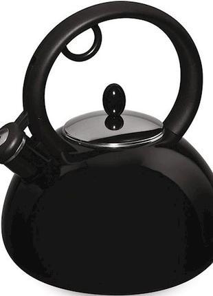 Чайник эмалированный со свистком Granchio Bollitore NERO 2,5 л.