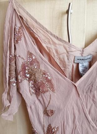 Платье винтаж шёлковое, цвета мокко расшитое бисером и пайетками