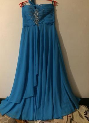 Голубое длинное шифоновое платье сукня