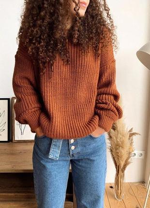 5 цветов! вязанный терракотовый свитер