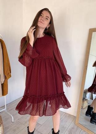 5 цветов! бордовое нарядное шивоновое платье