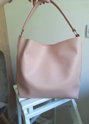 Удобная кожаная сумка из экокожи, цвет пудра