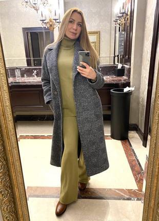 Шерстяное длинное пальто