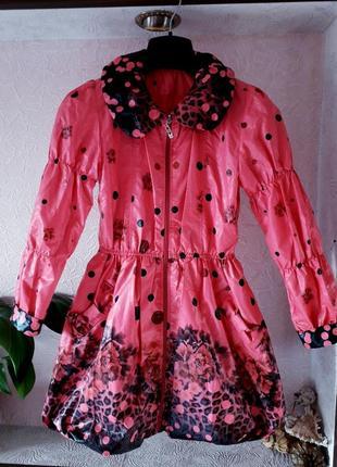 Жетский розовый плащ ветровка на девочку цветы розы демисезон ...