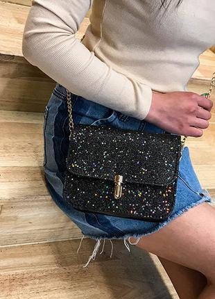 Модная женская сумка клатч на цепочке с блестками