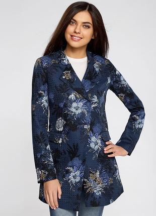 Жакет - летнее пальто синий цветы