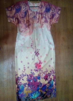 Платье макси сиреневые цветы