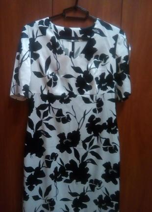 Платье летнее черно-белый принт