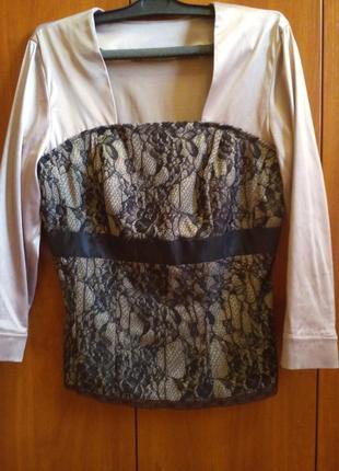 Блуза беж кружево + подарок !!! (сюрприз или на ваш выбор)