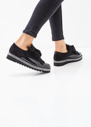 Туфли ботинки лак замш мех 38 последняя пара