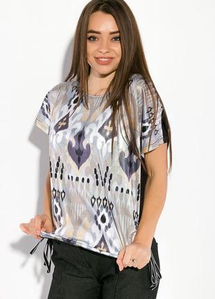 Блуза перед принт спинка черная