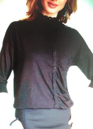 Блуза с кружевом воротник стойка eldar