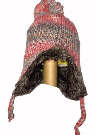 Вязанная шапка на флисе с мехом на 3-4 года