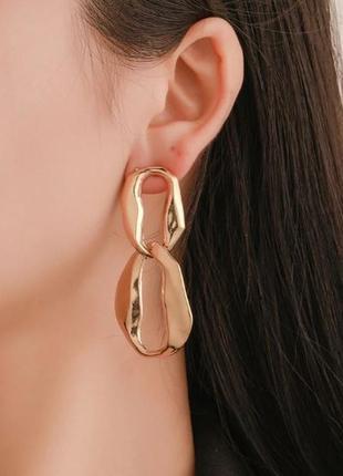 Стильные серьги кольца розовое золото