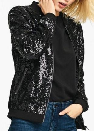 Стильный женский бомбер куртка в пайетках esmara  ,34,36,28,40