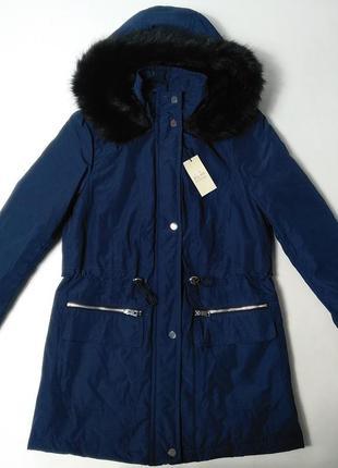 Зимняя женская куртка с меховым капюшоном papaya 8size