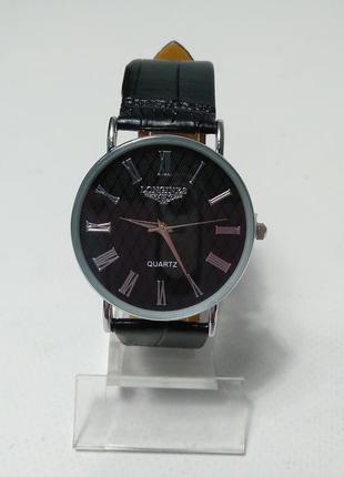 Часы на руку черные класические longines quartz
