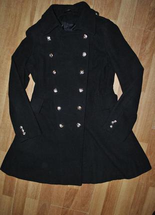 Пальто черное кашемировое шерстяное осень куртка шуба