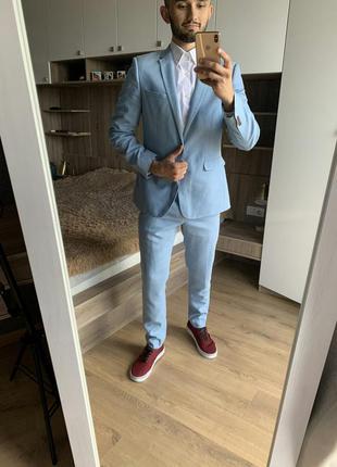 Мужской деловой классический голубой костюм пиджак штаны брюки...