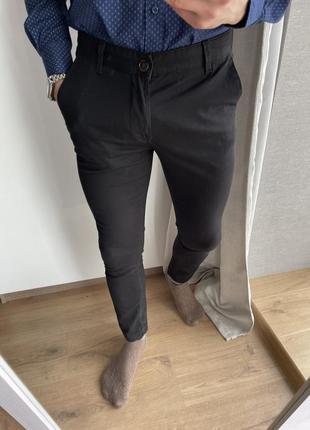 Мужские черные классические зауженные брюки штаны чиносы river...