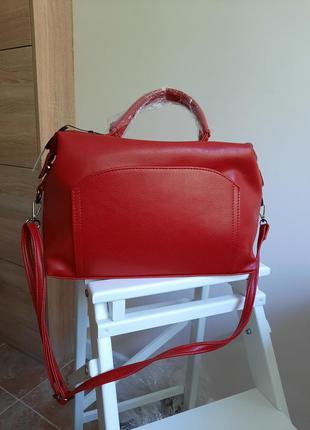 Качественная сумка-саквояж красная на длинной ручке