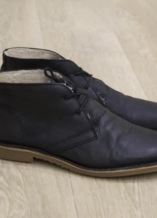 Мужские туфли ботинки дезерты кожа черные осень/зима