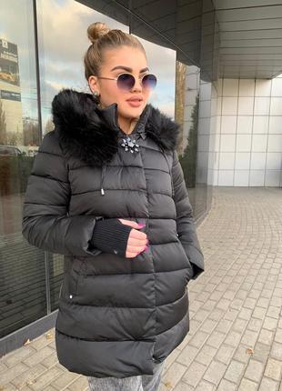 Пуховик пальто зимнее куртка тёплая курточка с мехом утеплитель