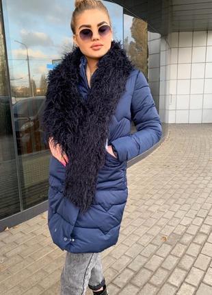 Пальто пуховик тёплое зимнее на утеплителе с мехом ламы