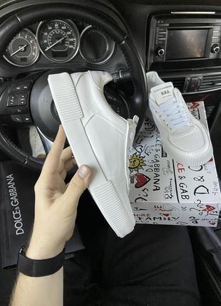 D&G; Miami Sneakers Triple White (Белый) Кроссовки Дольче Габа...