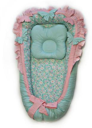 Кокон гнездышко для девочки с объемными мягкими бабочками и с ...