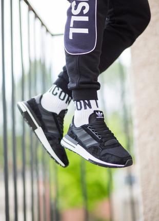 Кроссовки Adidas ZX Black/White 45