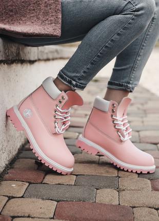Женские ботинки Timberland Pink   Тимберленд розовые 37