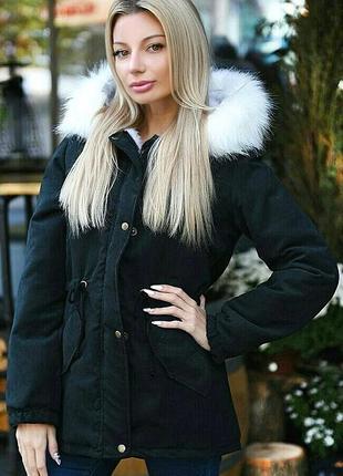 Парка куртка на меху меховая с капюшоном