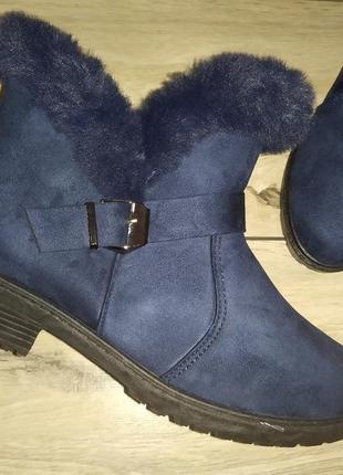 Зимние женские ботинки опушка зима жіночі полуботинки