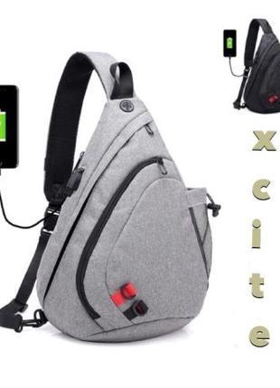 Городской рюкзак на одно плече с USB портом.Мужская Сумка cros...
