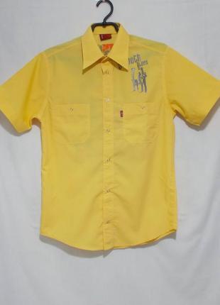 Новая рубашка желтая с принтом на кнопках 'levis' 44-46р