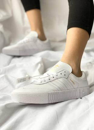 Adidas samba white leather кроссовки